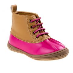 Smart Step Little Girls Fuchsia Patent Tan Lace-Up Duck Boots 5-10 Toddler