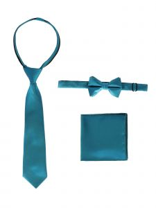 Gioberti Little Boys Teal Solid Necktie Bow Tie Pocket Square 3 Pc Set 2-4