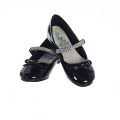 Swea Pea & Lilli Girls Black Patent Rhinestone Dress Shoes 9 Toddler-5 Kids