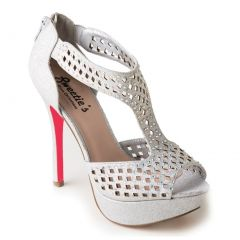 Sweetie's Shoes Silver Cut-out Suzie Jeweled Elegant Dress Pumps 5.5-11 Womens