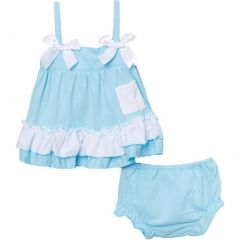 Wenchoice Baby Girls Light Blue Bow Ruffles Swing Top Set 9-24M