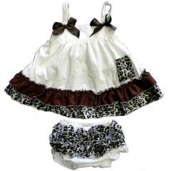 Wenchoice Baby Girls Ivory Cheetah Bow Ruffles Swing Top Set 9-24M