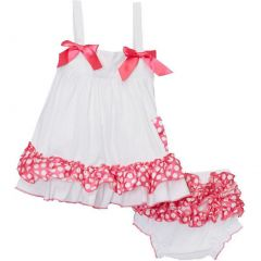 Wenchoice Baby Girls White Pink Polka Dots Bow Ruffles Swing Top Set 9-24M