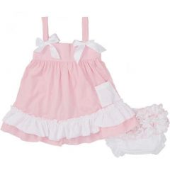 Wenchoice Baby Girls Pink White Dots Bow Ruffles Swing Top Set 9-24M