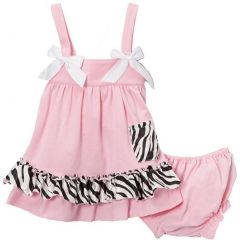 Wenchoice Baby Girls Pink Zebra Bow Ruffles Swing Top Set 9-24M