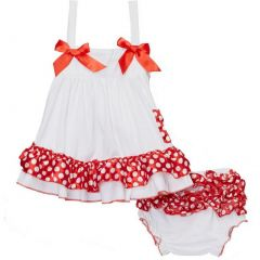 Wenchoice Baby Girls White Red Polka Dots Bow Ruffles Swing Top Set 9-24M