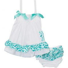 Wenchoice Baby Girls White Green Chevron Bow Ruffles Swing Top Set 9-24M