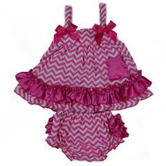 Wenchoice Baby Girls Hot Pink Chevron Bow Ruffles Swing Top Set 9-24M