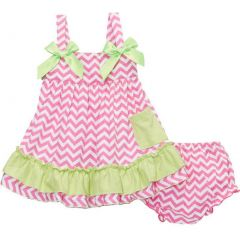 Wenchoice Baby Girls Hot Pink Lime Chevron Bow Ruffles Swing Top Set 9-24M