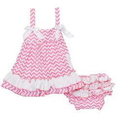 Wenchoice Baby Girls Pink White Bow Ruffles Swing Top Set 9-24M