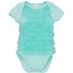 Wenchoice Baby Girls Green Chiffon Ruffles Short Sleeve Bodysuit 9-24M