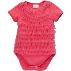 Wenchoice Baby Girls Hot Pink Chiffon Ruffles Short Sleeve Bodysuit 9-24M
