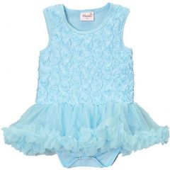 Wenchoice Baby Girls Blue Chiffon Ruffles Short Sleeve Bodysuit 9-24M