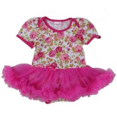 Wenchoice Baby Girls White Hot Pink Rose Tutu Cotton Bodysuit 9-24M