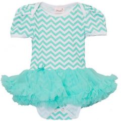 Wenchoice Baby Girls Green Chevron Tutu Short Sleeve Bodysuit 9-24M