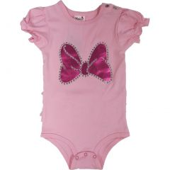 Wenchoice Baby Girls Pink Minnie Bow Ruffle Trim Bodysuit S (0-6M)-L (18-36M)
