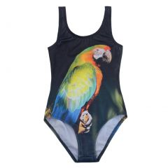 Popup Shop Baby Girls Multi Color Parrot Print UV Safe 1 Piece Swimsuit 1-2