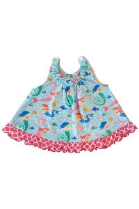 AnnLoren Baby Girls Blue Pink Open Back Mermaid Print Swing Tank Top 3-24M