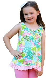 AnnLoren Little Girls Pink Green Open Back Flamingo Print Swing Tank Top 2-6X