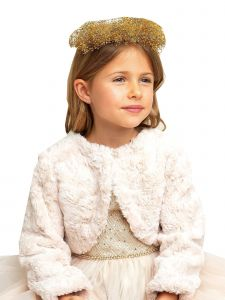 Sweet Kids Girls Fur Pearl Button Long Sleeve Bolero Sweater Cardigan 9M-16