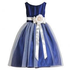 Sweet Kids Big Girls Royal Blue Floral Accent Junior Bridesmaid Dress 7-12
