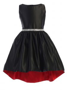 Sweet Kids Big Girls Black Shiny Satin Hi-Low Special Occasion Dress 7-16