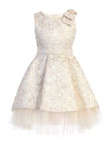 Sweet Kids Little Girls Ivory Floral Brocade Tulle Underlay Christmas Dress 2T-6