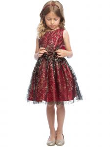 Sweet Kids Girls Sparkle Tulle Overlay Bow Christmas Dress 9M-16