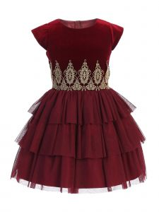Sweet Kids Big Girls Burgundy Rolled Lace Detail Tiered Christmas Dress 7-12