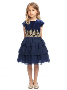 Sweet Kids Girls Rolled Lace Detail Tiered Christmas Dress 2T-12