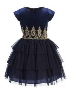 Sweet Kids Big Girls Navy Blue Rolled Lace Detail Tiered Christmas Dress 7-12