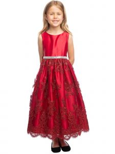Sweet Kids Girls Sequined Lace Overlay Christmas Flower Girl Dress 2T-12