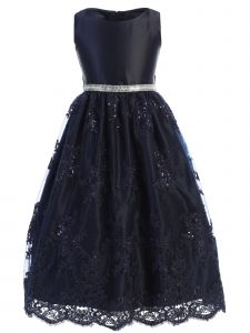 Sweet Kids Big Girls Navy Blue Sequined Lace Overlay Christmas Dress 7-12