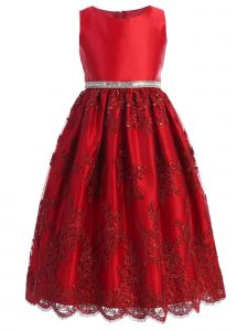 Sweet Kids Big Girls Red Sequined Lace Overlay Christmas Dress 7-12
