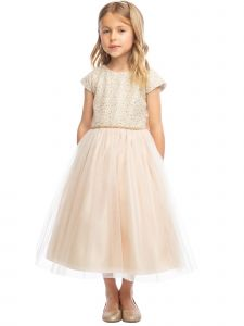 Sweet Kids Big Girls Champagne Jeweled Top Tulle Skirt Christmas Dress 7-16