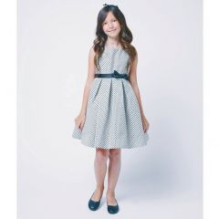 Sweet Kids Baby Girl 6-12M Ivory Black Textured Bow Christmas Dress