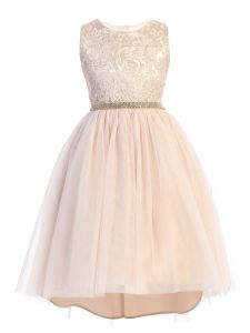 Sweet Kids Little Girls Pale Pink Embroidered Tulle Overlay Christmas Dress 4