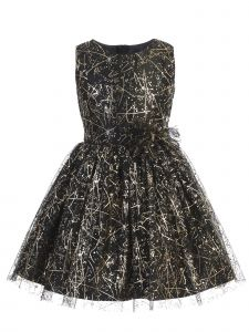 Sweet Kids Big Girls Black Sparkle Tulle Overlay Bow Christmas Dress 7-16