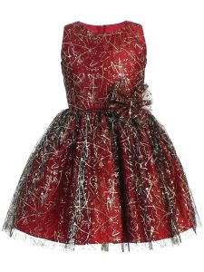 Sweet Kids Baby Girls Red Sparkle Tulle Overlay Bow Christmas Dress 9M-24M