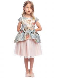 Sweet Kids Girls Floral Tapestry Tulle Short Sleeve Bow Christmas Dress 6M-12