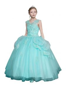 Big Girls Aqua Gold Embroidery Glitter Tulle Pageant Ball Dress 8-16