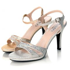 Sweetie's Shoes Silver Jeweled Strappy Sylvia Dress Sandal 5.5-11 Womens