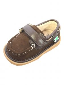 Mooshu Trainers Boys Chocolate Casual Squeaky Boat Sawyer Shoes 3-4 Baby