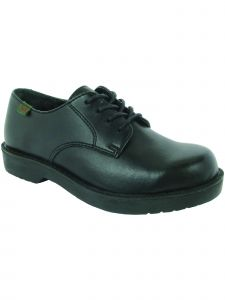 School Issue Boys Black Lace Up Oxford Leather Medium-Wide Width Shoes