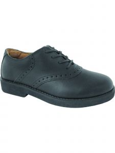 School Issue Girls Black Lace Up Saddle Oxford Medium-Wide Width Shoes