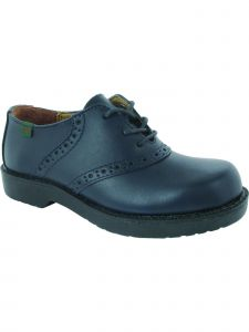 School Issue Womens Navy Lace Up Saddle Oxford Leather Medium-Wide Width Shoes