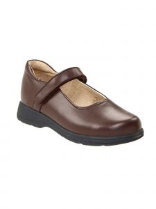 School Issue Girls Brown Hook Loop Strap Mary Jane Medium-Wide Width Shoes