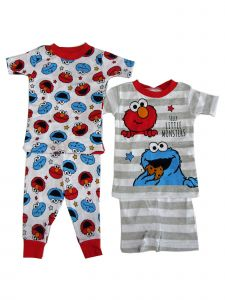 Sesame Street Little Boys Cookie Monster Elmo 2 pack Pajama 2pc Sets 2T-4T