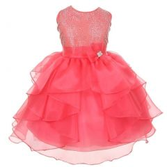 Little Girls Coral Rhinestud Overlaid Flower Girl Dress 6