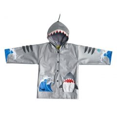 Kidorable Little Boys Grey Shark Mouth Pocket Gills Hooded Rain Coat 2T-6X